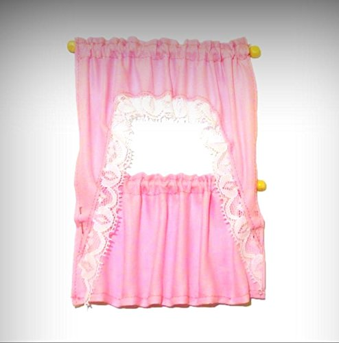 Dollhouse Handcrafted Lace Trim Pink Ruffled Demi Cape Curtains 1:12 Miniatures - My Mini Garden Dollhouse Accessories for Outdoor or House - Sculpture Demi