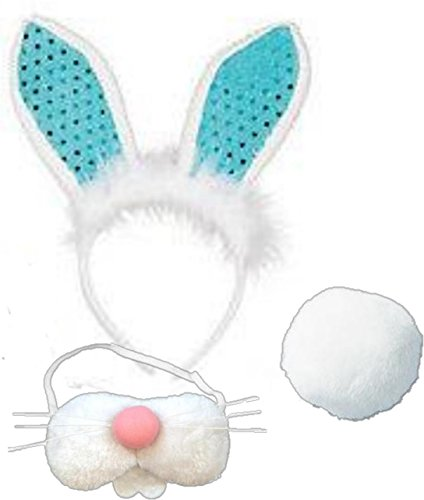 [Easter Bunny Costume - Sequin Bunny Ears, Pink Nose with Whiskers and Teeth and Cotton Tail (BLUE)] (Merlin Costumes)