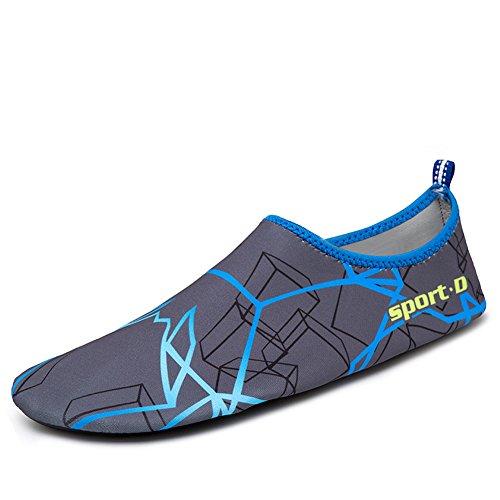 Oberm Damen Herren Wasser Schuhe schnell trocknend Barfuß Schuhe Aqua Socken für Beach Swimming Pool Yoga Blau