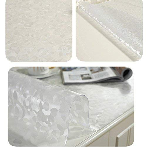 SED Household Round Table Cover,Simple Solid Color Transparent Frosted Rose Tablecloth PVC Soft Glass Tv Cabinet Table Mat Thickness Waterproof Anti-Scalding Oil-Proof Table Mat Tablecloths,90140CM ()