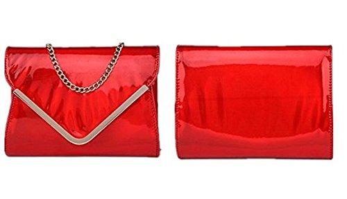 Corssbody Shoulder Envelope Leather Holographic Bag Bag Laser Red Marchome Women q0SI7Y