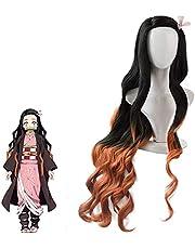 Kamado Nezuko Demon Slayer Cosplay Pruik, Japans Anime Karakter rollenspel haren pruiken met accessoires, lang krullend zwart oranje verloop pruik voor Halloween rekwisieten