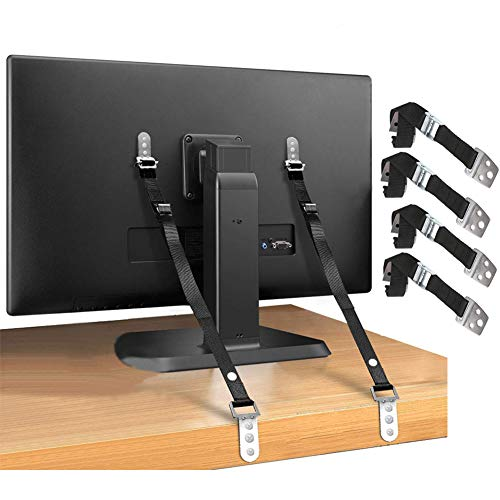 TV Safety Straps & Anti Tip Furniture Kit furniture safety strap Adjustable Anchors for Baby Child Proofing Dresser, Cabinet, Bookshelf, Wardrobe Earthquake Straps (4 Packs)