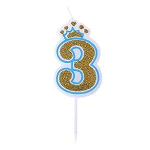 Chiic Vela – Corona de purpurina para tartas de cumpleaños con números 0 a 9, ideal como accesorio de cumpleaños BL 3