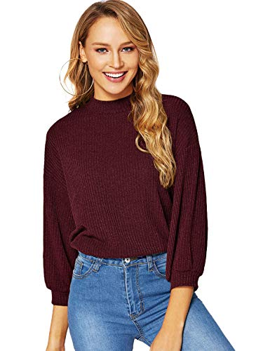 Mock Drop - Verdusa Women's 3/4 Sleeve Mock Neck Rib-Knit Tunic Pullovers Top Burgundy L