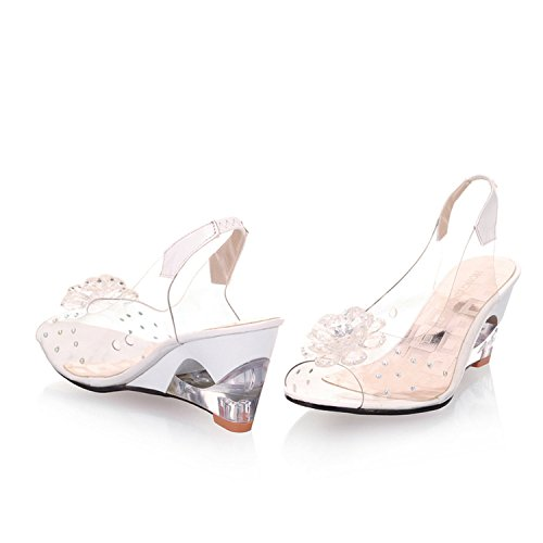 Feilongzaitianba Women Sandals Transparent Flowers Wedges Sandals Red Black Blue Yellow Beige Shoes Woman Us Size 35-105 6021 - Phone Ray Number Is What Ray