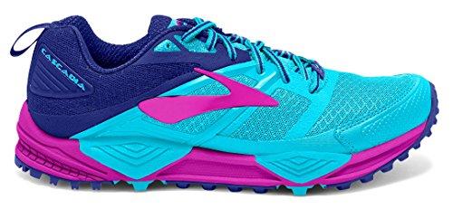 Brooks Cascadia 12, Zapatillas de Running para Asfalto para Mujer Multicolor (Bluefish/clematisblue/purpleca)
