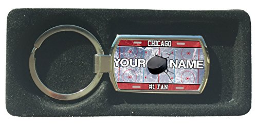 (BRGIftShip Customize Your Own Hockey Team Chicago Metal Keychain)