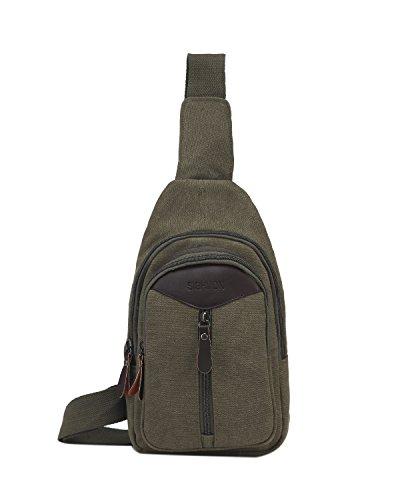Small Sling Pack Crossbody Multipurpose Daypack Hiking Chest Shoulder Bag Men and Women Unisex Dark Khaki from Pnvocny