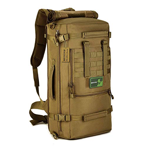 SUNVP Tactical Military MOLLE Assault Backpack Pack 3 Way Modular Attachments 50L Large Waterproof Bag Rucksack Outdoor Gear For Hunting Cycling Camping Trekking
