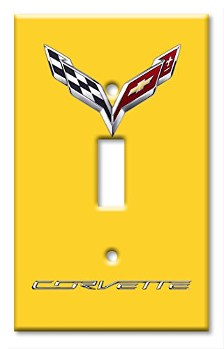 Corvette C7 Logo (Yellow) - Single Gang Toggle Switch - Logo Yellow Rectangle