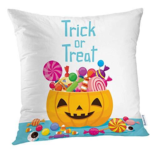 Batmerry Halloween Pillow Covers 18x18 inch,Halloween Pumpkin High Candy Flat Food Cute Cartoon Sweets Trick Throw Pillows Covers Sofa Cushion Cover Pillowcase -
