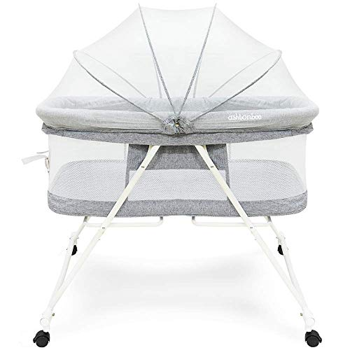 Portable Baby Bassinet – Foldable Crib for Newborns, Travel Bassinet with Removable Tent