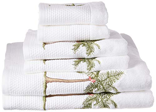 Palm  Cotton Bathroom Towels , Washable Bath Towel Set , 6-Piece Include 2 Bath Towels, 2 Hand Towels & 2 Wash Towels , Brown Green White