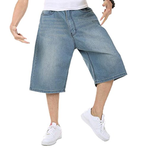 OULIU Mens Hip Hop Skateboard Relaxed Fit Denim Jean Shorts Blue 42