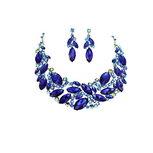 SP Sophia Collection Women's Boho Crystal Marquise Filigree Statement Necklace Dangle Earring Set in Blue ()