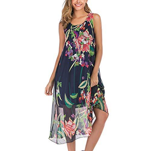 Women Summer Casual Boho Floral Print Beach Chiffon Swing Dress ()