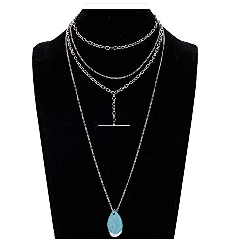 VUJANTIRY Women's Tiered Long Necklace Layered Choker Necklace Drusy Lariat Necklace Tassel Pendant Necklace (Silver#3)