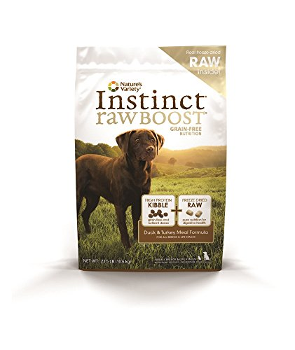 Frozen Raw Turkey (Instinct Raw Boost Grain Free Duck & Turkey Meal Formula Natural Dry Dog Food by Nature's Variety, 23.5 lb. Bag)