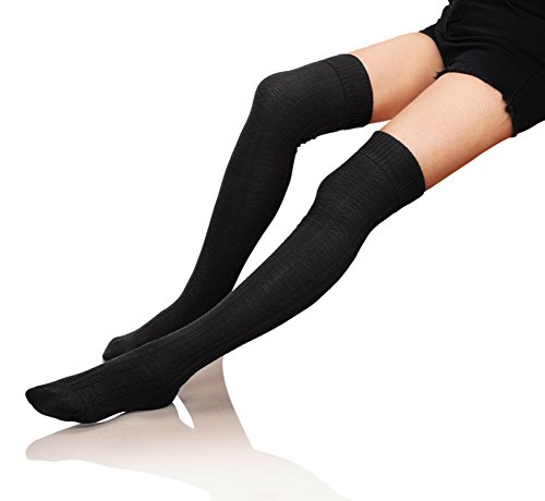 Velice Womens Winter Knit Over the Knee Socks Leg Warmer Thigh High Boot Socks (Black)