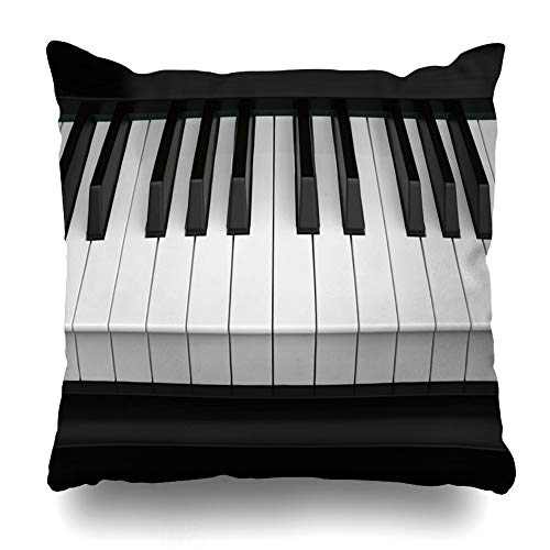 Ahawoso Decorative Throw Pillow Cover Song Note Piano Keys Closeup Organ Play Acoustic Black Chord Classic Design Harmony Home Decor Pillowcase Square Size 20