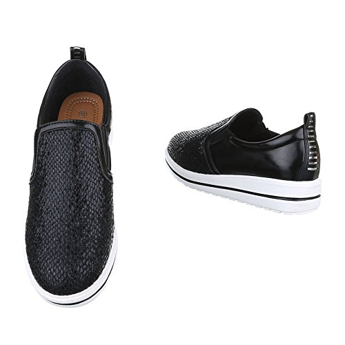 Ital-Design Slipper Damen Schuhe Low-Top Moderne Halbschuhe Schwarz