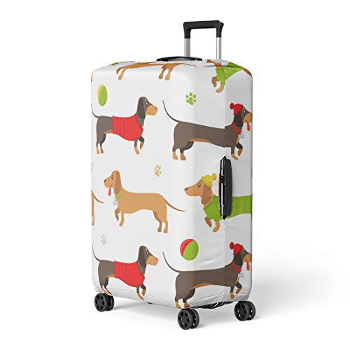 Pinbeam Luggage Cover Flat Pattern of Brown and Ginger Dachshunds Wearing Travel Suitcase Cover Protector Baggage Case Fits 18-22 inches