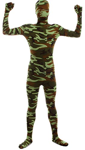 VSVO Second Skin Zentai Full Body Costume (Kids Medium, Camo Green) - Skin Suit Camo Child Costumes