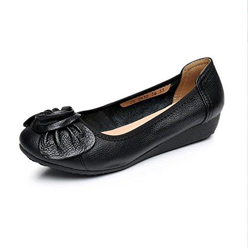 Womens Cómodos Zapatos Negro Casual Enfermera Plana Calzado Primavera Cuero de Zapatos de XZGC RAdqwR
