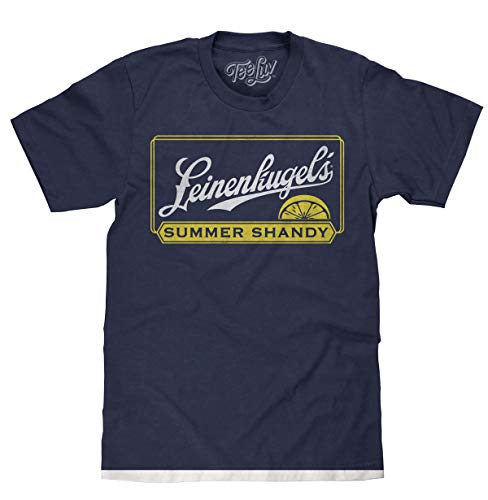 Tee Luv Leinenkugel's Summer Shandy T-Shirt - Leinenkugel Beer Logo Shirt (2XL) Heather Navy (Strohs Beer Shirt)