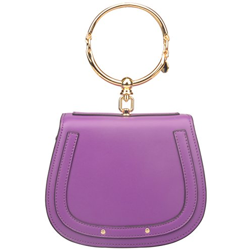 Top Leather Purse - Women's Genuine Leather Crossbody Bag Bracelet Handle Purse Top Handle Small Handbags (Small, Purple)