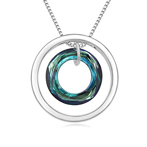 - Laramoi Elegant Circle Crystal Pendant Necklace Alloy Bottom Bracket for Women Girls Teens (Blue)