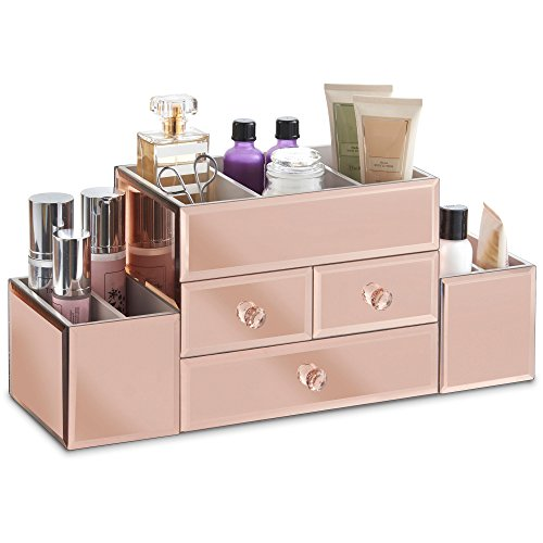 Bedroom Full Size Vanity - Beautify Large Mirrored Rose Gold Glass Jewelry Box & Cosmetic Makeup Organizer with 3 Drawers and 9 Sections