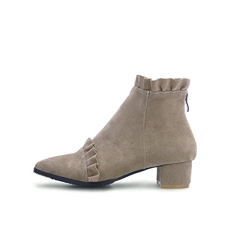 Frosted Kitten Boots Nude Low Closed Heels Toe Top Women's Pointed Solid AgooLar nIqwgYRn