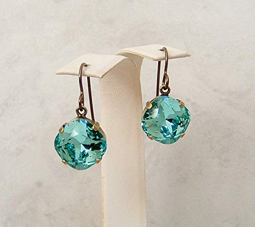 Blue Square Cushion Cut 12mm Crystal Earrings Simulated Turquoise December Birthstone Gift Idea BR (Turquoise Cushion Cut Ring)
