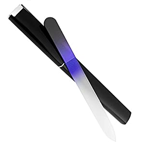 Bona Fide Beauty Glass Nail File, Genuine Czech Glass Crystal Nail File For Natural and Acrylic Nails - Great Alternative to Metal Nail Files, Emery Boards & Buffers, Black/Cobalt in Black Hard Case