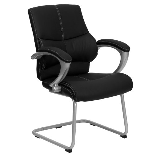 - Black Leather Executive Side Reception Chair with Silver Sled Base