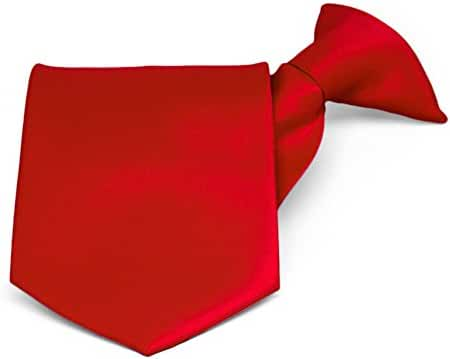 TieMart Men's Solid Red Clip-On Necktie