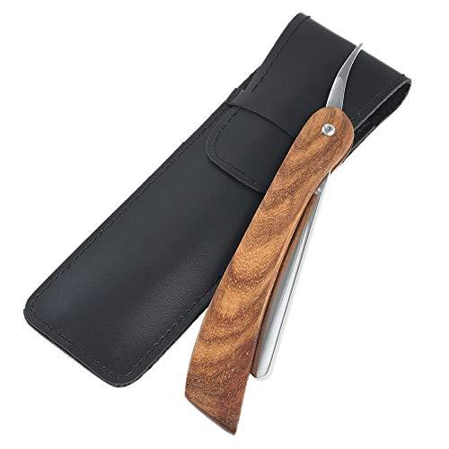 Straight Shaving Razor Stainless Steel Barber Shaving Folding Razor Wooden Handle Razor with Leather Sheath