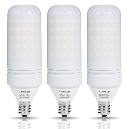 LOHAS E12 Candelabra LED Light Bulbs, 100W Equivalent LED Bulb(12W Bulbs),T10 Bulbs 2700K Warm White, Energy Saving Bulb for Chandelier, 1100 Lumens, Not-Dimmable(Pack of 3)