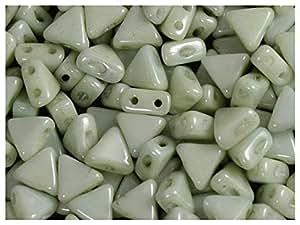 50 piezas Kheops Par Puca vidrio prensado Checa - granos de forma triangular granos, con dos agujeros, 6 mm, tiza verde brillo
