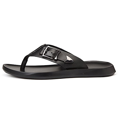 Pantofole neri Nero da Jiuyue Infradito Sandali dimensione 41 spiaggia casual da lacci Colore shoes senza Nero uomo Infradito antiscivolo uomo pelle Scarpe in vera EU Scarpe da qT0qfnpF