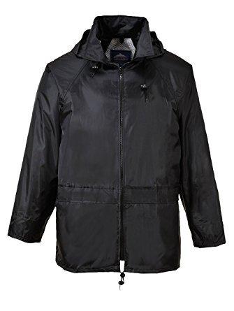 Portwest mens Portwest Mens Classic Waterproof Rain Coat Jacket Navy, Black, Yellow Black S