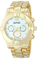 August Steiner Women's AS8107YG Swiss Quartz Multifunction Crystal Mother-of-Pearl Gold-tone Pyramid Bracelet Watch