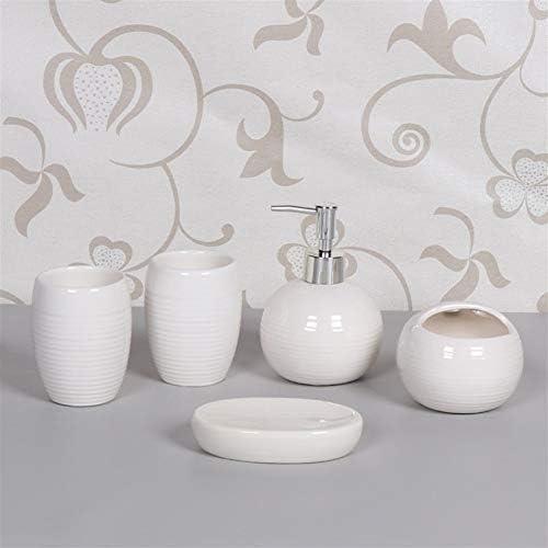 FXin 浴室付属品、セラミック材料、家庭用パーソナルケア、個人衛生用トイレタリー、5セット、6色 シャワー室 (Color : White)