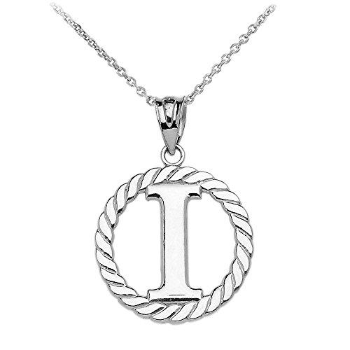 """Collier Femme Pendentif 10 Ct Or Blanc """"I"""" Initiale À Corde Cercle (Livré avec une 45cm Chaîne)"""