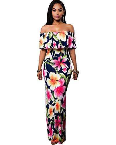 12f1180578f Amazon.com  BIUBIU Women s Elegant Off Shoulder Floral Party Bodycon Maxi  Dress Rose Red M  Clothing