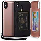 TORU CX PRO iPhone Xs Max Wallet Case Pink with Hidden Credit Card Holder ID Slot Hard Cover, Strap, Mirror & Lightning Adapter for Apple iPhone Xs Max (2018) - Rose Gold