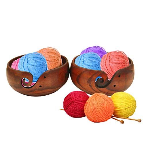 Kiorc Wooden Yarn Bowl Holder Rosewood Knitting Bowl with Holes Storage Crochet Yarn Black ()