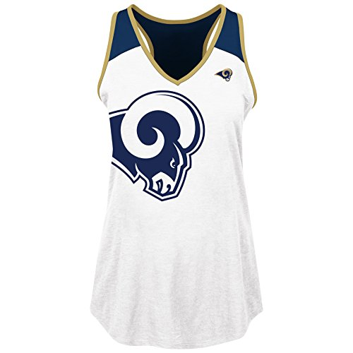Profile Big & Tall NFL Los Angeles Rams Adult Women NFL Plus Rams V Neck Muscle Tank,3X,WHT/NVY by Profile Big & Tall